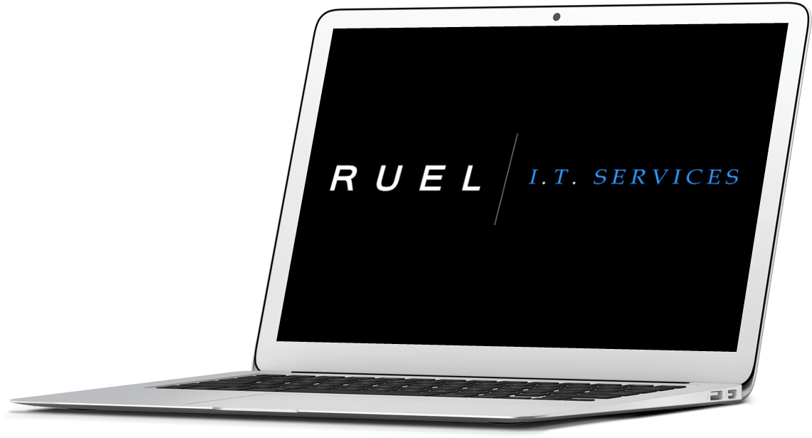 laptop with Ruel I.T. logo on the screen